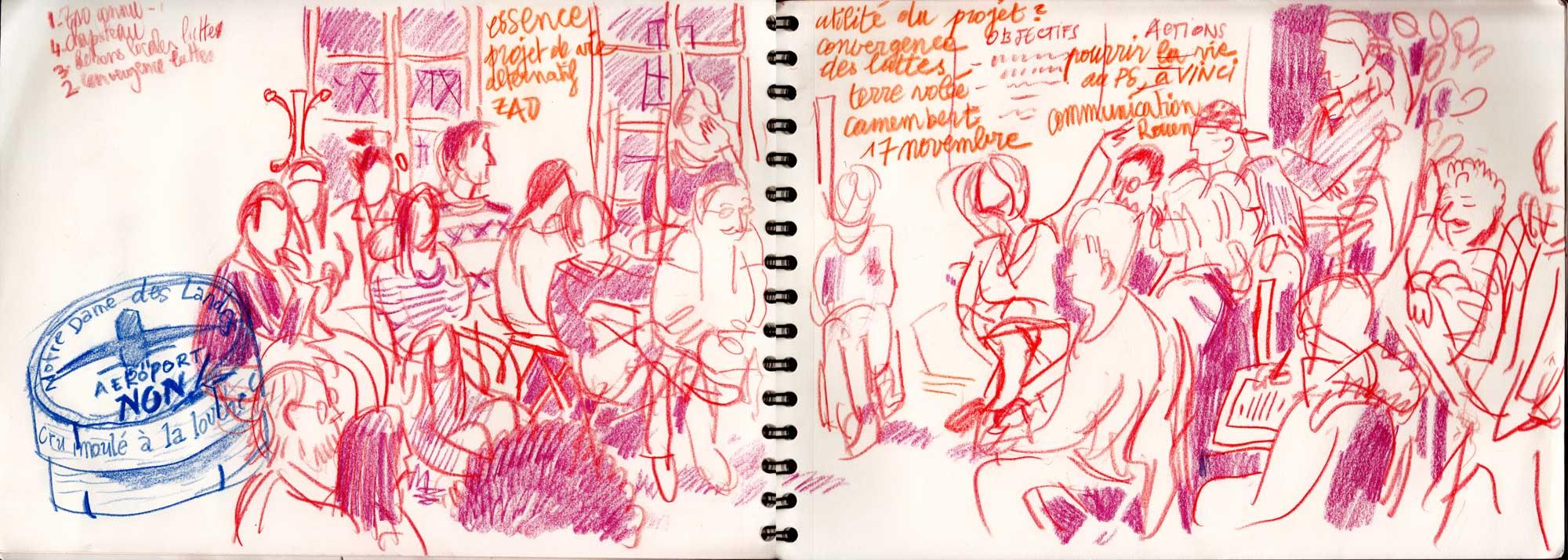 une des premières réunions de soutien à Notre-Dame-des-Landes - à Rouen - dans la salle du haut de Faites-le-Vous-Même octobre ou début novembre 2012